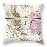 1710 Ottens Map Of Southeast Asia Singapore Thailand Siam Malaysia Sumatra Borneo Throw Pillow