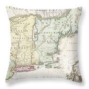 1716 Homann Map Of New England Throw Pillow