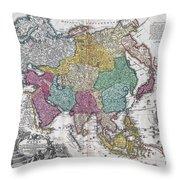 1730 C Homann Map Of Asia Geographicus Asiae Homann 1730 Throw Pillow