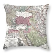 1730 Seutter Map Of Turkey Ottoman Empire Persia And Arabia Throw Pillow