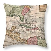 1732 Herman Moll Map Of The West Indies And Caribbean Throw Pillow