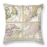 1737 Homann Heirs Map Of New England Georgia And Carolina And Virginia And Maryland Throw Pillow