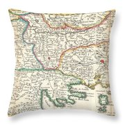 1738 Ratelband Map Of The Balkans Throw Pillow