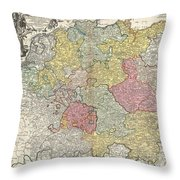 1740 Homann Map Of The Holy Roman Empire Throw Pillow