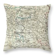 1740 Zatta Map Of Central France And The Vicinity Of Paris  Throw Pillow