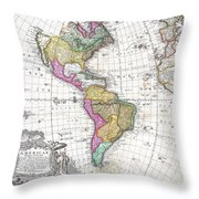 1746 Homann Heirs Map Of South And North America Throw Pillow