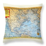 1747 Bowen Map Of North America Geographicus Northamerica Bowen 1747 Throw Pillow