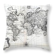 1748 Antique World Map Versuch Von Einer Kurzgefassten Karte  Throw Pillow