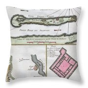 1750 Bellin Map Of The Senegal Throw Pillow