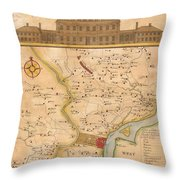 1752  Scull  Heap Map Of Philadelphia And Environs Throw Pillow