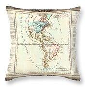 1760 Desnos And De La Tour Map Of North America And South America Geographicus Amerique Desnos 1760 Throw Pillow