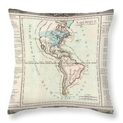 1760 Desnos And De La Tour Map Of North America And South America Throw Pillow