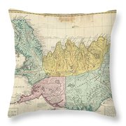 1761 Homann Heirs Map Of Iceland Throw Pillow