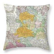 1761 Homann Heirs Map Of Westphalia  Throw Pillow