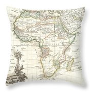 1762 Janvier Map Of Africa Throw Pillow