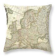1762 Janvier Map Of Europe  Throw Pillow