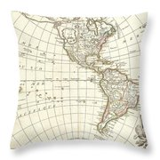 1762 Janvier Map Of North America And South America  Throw Pillow