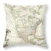 1762 Janvier Map Of North America  Throw Pillow