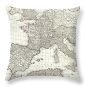 1763 Anville Map Of The Western Roman Empire Throw Pillow