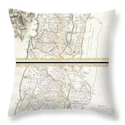 1763 De Lisle Map Of The Holy Land Throw Pillow