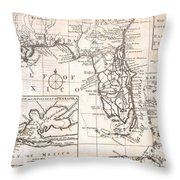 1763 Gibson Map Of East And West Florida Throw Pillow