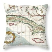 1763 Terreni  Coltellini Map Of Cuba And Jamaica Throw Pillow