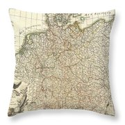 1771 Rizzi Zannoni Map Of Germany And Poland Throw Pillow