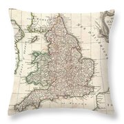 1772 Bonne Map Of England And Wales  Throw Pillow
