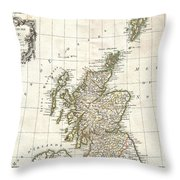 1772 Bonne Map Of Scotland  Throw Pillow