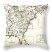 1776 Bonne Map Of Louisiana And The British Colonies In North America Throw Pillow