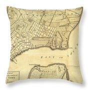 1776 New York City Map Throw Pillow