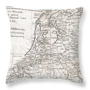 1780 Raynal And Bonne Map Of Holland And Belgium Throw Pillow