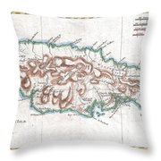 1780 Raynal And Bonne Map Of Jamaica West Indies Throw Pillow
