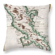 1780 Raynal And Bonne Map Of Martinique West Indies Throw Pillow