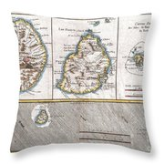 1780 Raynal And Bonne Map Of Mascarene Islands Reunion Mauritius Bourbon Throw Pillow