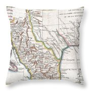1780 Raynal And Bonne Map Of Mexico And Texas  Throw Pillow