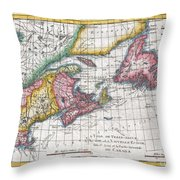 1780 Raynal And Bonne Map Of New England And The Maritime Provinces Throw Pillow