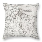 1780 Raynal And Bonne Map Of Northern Brazil Throw Pillow