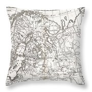 1780 Raynal And Bonne Map Of Northern Europe And European Russia Throw Pillow