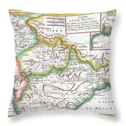 1780 Raynal And Bonne Map Of Northern India Throw Pillow