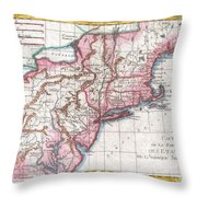 1780 Raynal And Bonne Map Of Northern United States Throw Pillow