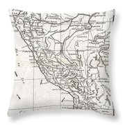 1780 Raynal And Bonne Map Of Peru Throw Pillow