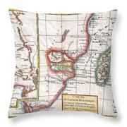 1780 Raynal And Bonne Map Of South Africa Zimbabwe Madagascar And Mozambique Throw Pillow