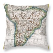 1780 Raynal And Bonne Map Of South America Throw Pillow
