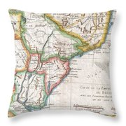 1780 Raynal And Bonne Map Of Southern Brazil Northern Argentina Uruguay And Paraguay Throw Pillow