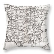 1780 Raynal And Bonne Map Of Spain And Portugal Throw Pillow