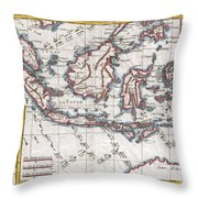 1780 Raynal And Bonne Map Of The East Indies Singapore Java Sumatra Borneo Throw Pillow