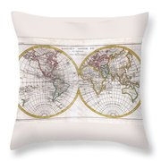 1780 Raynal And Bonne Map Of The Two Hemispheres Throw Pillow