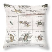 1780 Raynal And Bonne Map Of The Virgin Islands And Antilles West Indies Throw Pillow