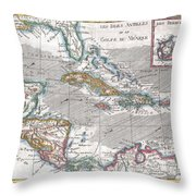 1780 Raynal And Bonne Map Of The West Indies Caribbean And Gulf Of Mexico Throw Pillow